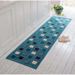 イタリア製シェニール織りキッチンマット (ア)ブルー系 (写真は約55×240cm)