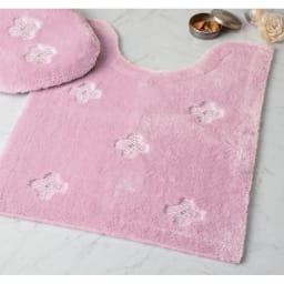 ヨシエイナバ トイレタリー〈ルーチェ〉 トイレマット単品 (ア)ピンク系 大判 ※お届けの商品はトイレマットのみです。