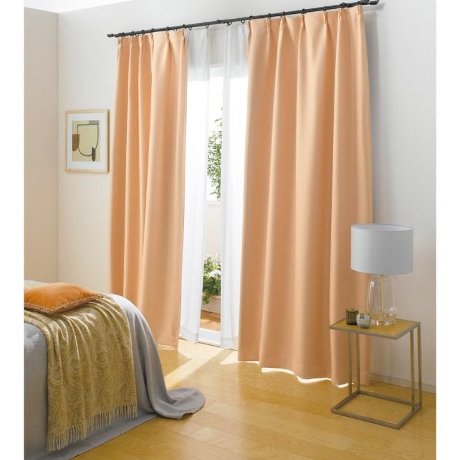 防音・1級遮光・遮熱カーテン(2枚組)幅100cm (エ)ライトオレンジ 騒音対策+遮熱・1級遮光 ぐっすり眠れそう…。