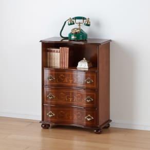 イタリア製象がん収納家具 ファックス・電話置き台幅58高さ78.5cm 写真