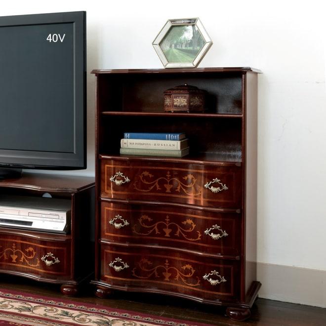 イタリア製象がん収納家具 ファックス・電話置き台幅58高さ87cm 使用イメージ ※お届けはファックス台・幅58cmタイプです。