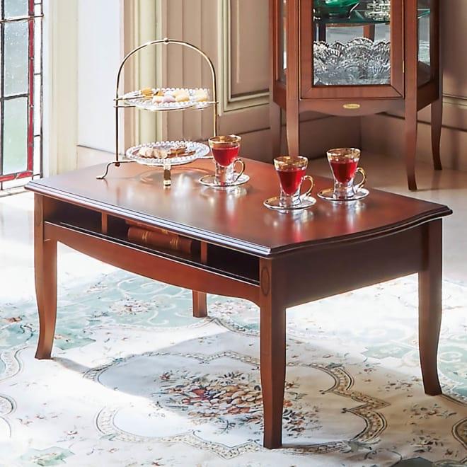 ベネチア調象がんシリーズ センターテーブル・幅95cm(引き出し無) 使用イメージ。天板下はオープン収納。雑誌やリモコン収納に便利です。