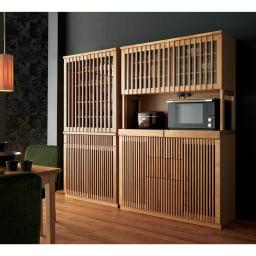 和モダン 格子 ダイニング シリーズ 家電収納庫 幅120奥行48cm 組合せ例。お届けは写真右側の家電収納庫となります。華やかな格子のデザインが、キッチンのインテリアのアクセントになります。