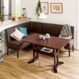 省スペース収納庫付きソファダイニング3点セット(棚付きテーブル+左カウチソファ+収納庫付き2人掛けソファ) 写真