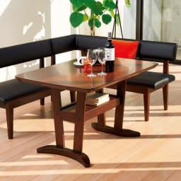 コンパクトLDラウンジダイニング 棚付きテーブル・幅115cm シリーズ組み合わせ例。 ※お届けはテーブルです。