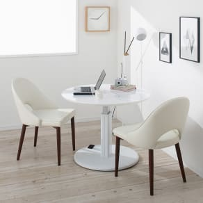 高さ自由自在!カフェスタイルダイニング 丸形昇降テーブル単品・径90cm ホワイト 写真