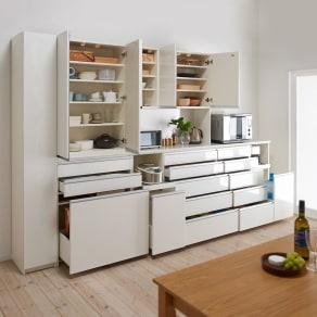 家電が使いやすいハイカウンター奥行50cm 食器棚高さ214cm幅80cm/パモウナCQ-800K 写真
