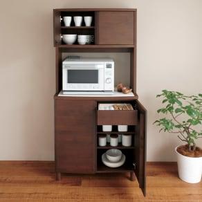 アルダー天然木アールデザインシリーズ キッチンボード 幅80cm 写真