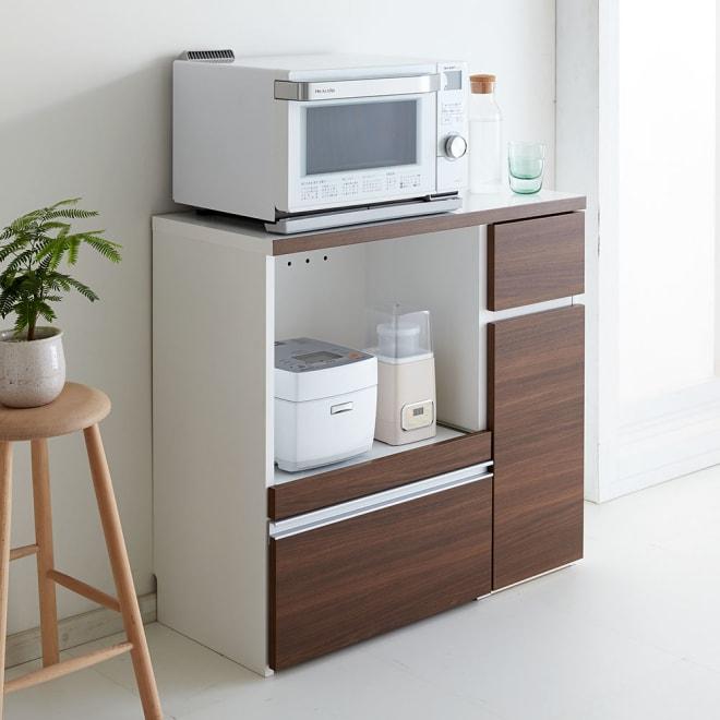 サイズが選べる家電収納キッチンカウンター ロータイプ 幅90cm 調理台・家電収納・収納棚・引出の機能を1台でコンパクトにまとめたキッチンカウンター。
