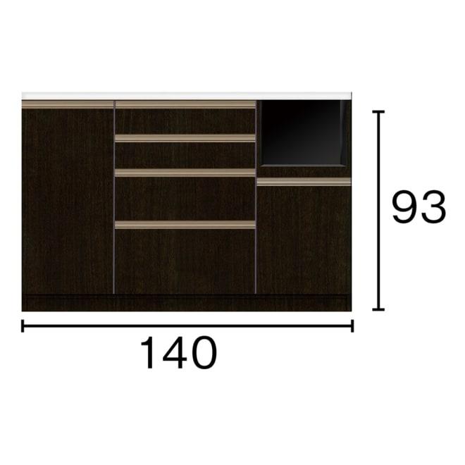 高機能 モダンシックキッチンシリーズ キッチンカウンター 幅140高さ93cm ※赤文字は内寸、黒文字は外寸表示(単位:cm)