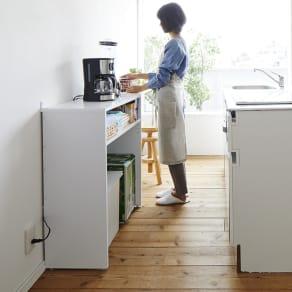 ゴミ箱上を有効活用!キッチンカウンター作業台 幅79cm・奥行34cm 写真