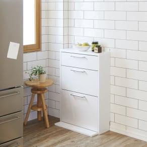 狭いキッチンにも置ける薄型フラップ収納チェスト 幅59cm 写真