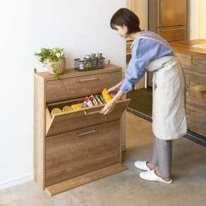 狭いキッチンにも置ける薄型フラップ収納チェスト 幅74cm 写真
