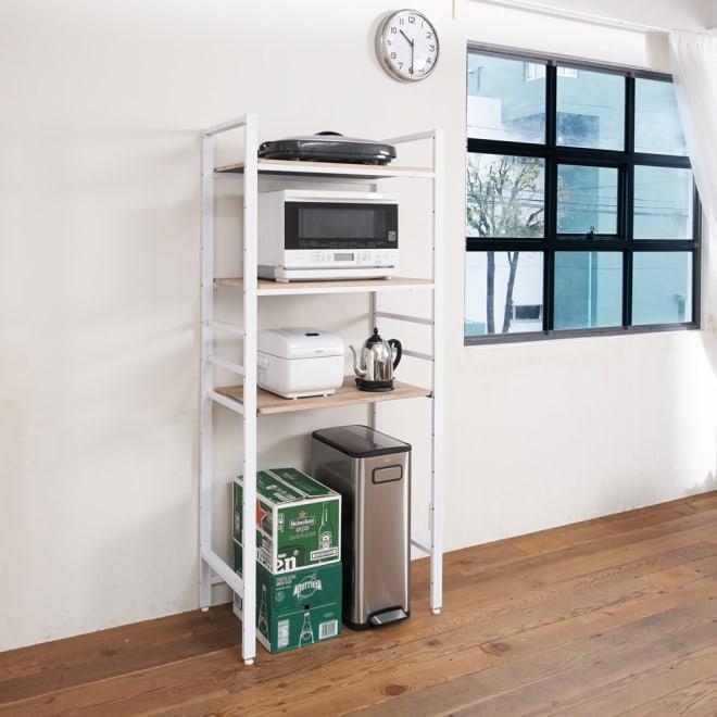 ブルックリン風キッチンラック 3段 幅80cm (イ)ホワイト