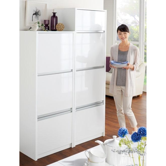 家電が隠せる!シンプル家電収納ストッカー 高さ180cm コーディネート例 ※お届けは高さ180cmタイプです。