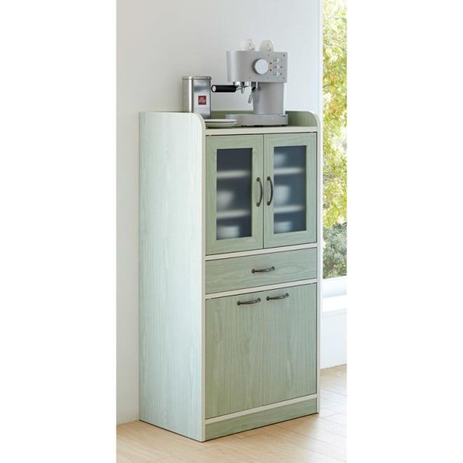 キッチン収納ミニ食器棚シリーズ キャビネット大(高さ120.5cm) 女性が使いやすい高さの120cmの食器棚です。 (ア)グリーン系