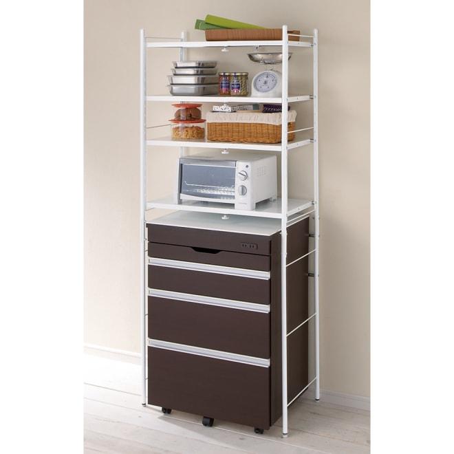 ゴミ箱の上もキッチン収納 幅伸縮キッチンラック 棚4段 幅47.5~70cm (ア)ホワイト ※お届けはラックのみです。