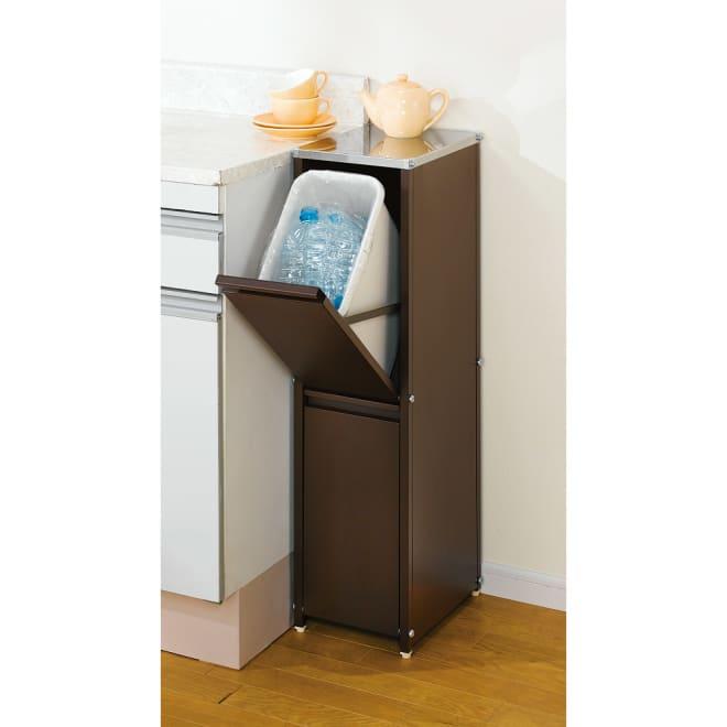 ステンレス天板ダストボックス 縦型2分別 熱に強く清潔なステンレス天板仕様のゴミ箱。 アジャスター付き。