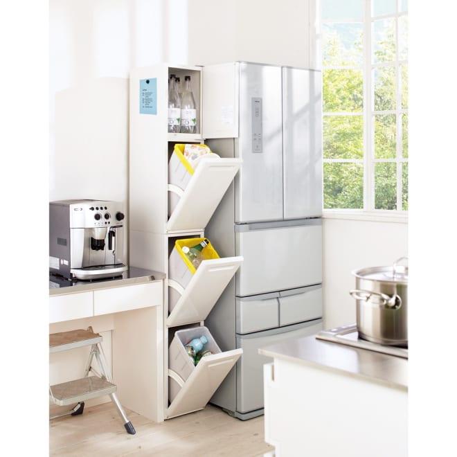 キッチンすき間収納 トールタイプダストボックス 3分別 しっかりとした作りなのに隙間に収まるのが人気の秘密です。本体にはマグネットを付けられます。