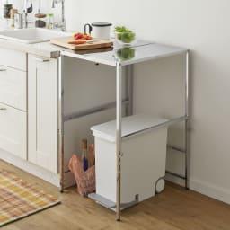 幅と高さが伸縮できるステンレス作業台 幅30~45cm 奥行60cm ≪シンク、冷蔵庫の横に≫