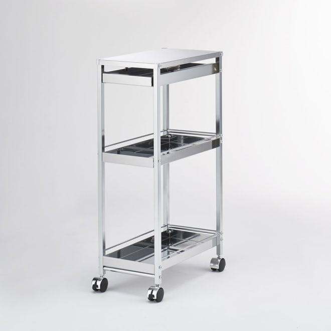 作業台下を有効活用 引き出し付きステンレスワゴン 収納棚ワゴン 幅25cm キッチンのわずかなすき間や作業台下に収まる幅25cmの棚付きワゴン。
