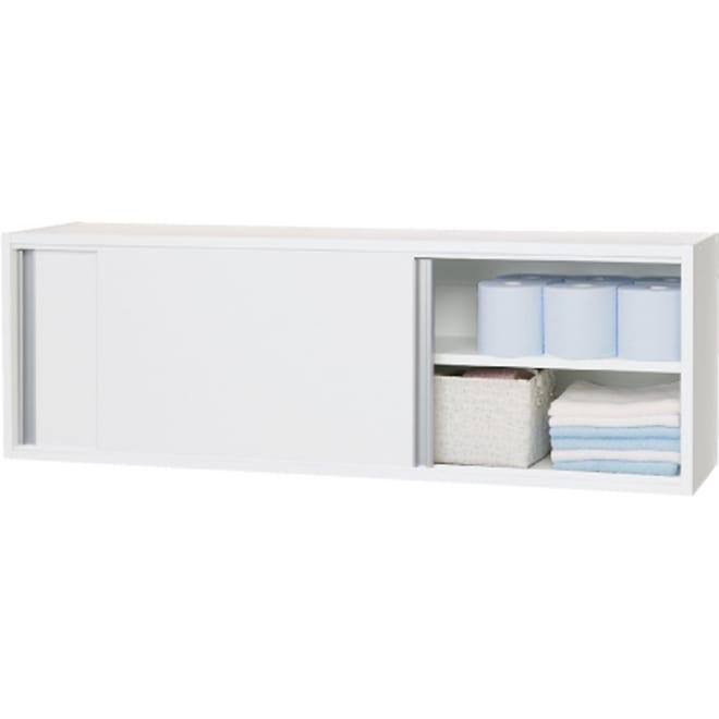 光沢仕上げ吊り戸棚 引き戸タイプ 幅120cm 床に収納が置けない方におすすめです。 吊り戸棚を使って狭いスペースでも効率的な収納を。 さらに引き戸式なので、開閉時の圧迫感もありません♪