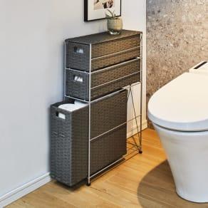 ラタン調スリムトイレ収納 幅17.5cm奥行47cm高さ69cm 写真