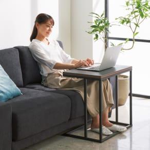 セラミック天板ソファサイドテーブル 写真