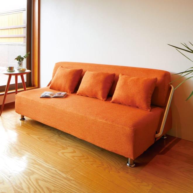 簡単にベットに変身!壁につけたまま使えるソファベッド 幅192cm (ソファ時) (ウ)オレンジ