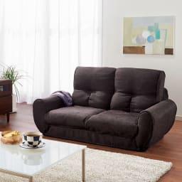 座椅子にもなる!2way省スペースソファ ラブソファ・幅126~167cm (通常時)(ウ)ブラウン