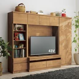 天然木調テレビ台ハイバックシリーズ 扉キャビネット・幅60.5奥行34.5cm コーディネート例 ※お届けは扉キャビネット・幅60.5cmです。