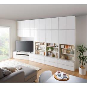 コーナーテレビ台壁面収納シリーズ 幅117cm TV台左壁設置用 写真