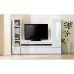 ラインスタイルシリーズ テレビ台 幅99cm 光沢が美しく、圧迫感を軽減してくれるホワイト。(イ)ホワイト
