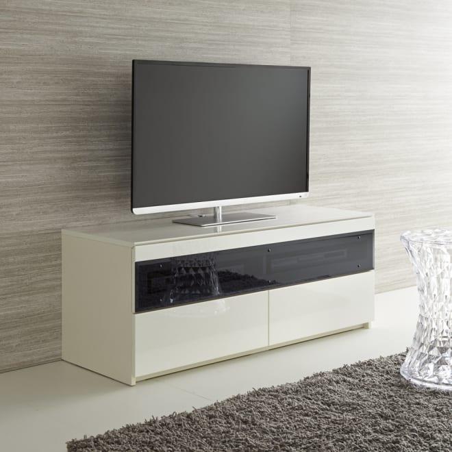パモウナBW-120 輝く光沢のモダンリビングシリーズ テレビ台 幅120cm 使用イメージ(ア)ホワイト