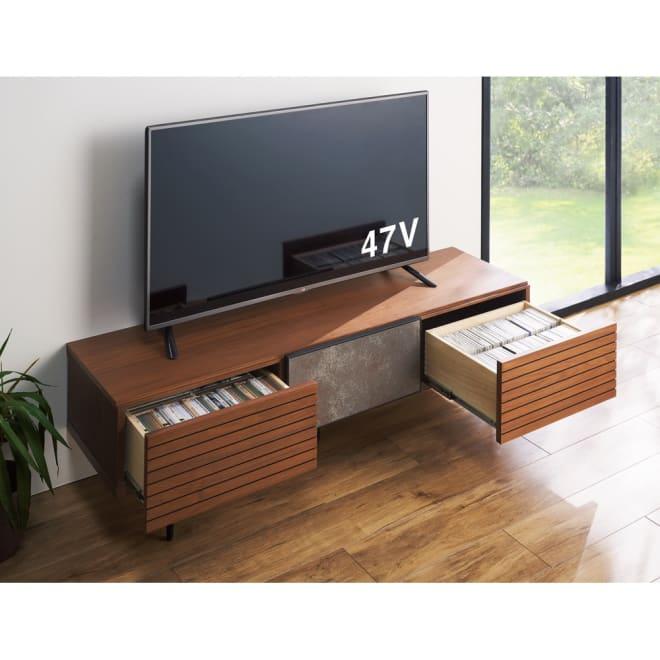 セラミック調ガラスのスタイリッシュテレビ台 幅150cm (ア)ウォルナット ※幅150cm、お届けの商品です。