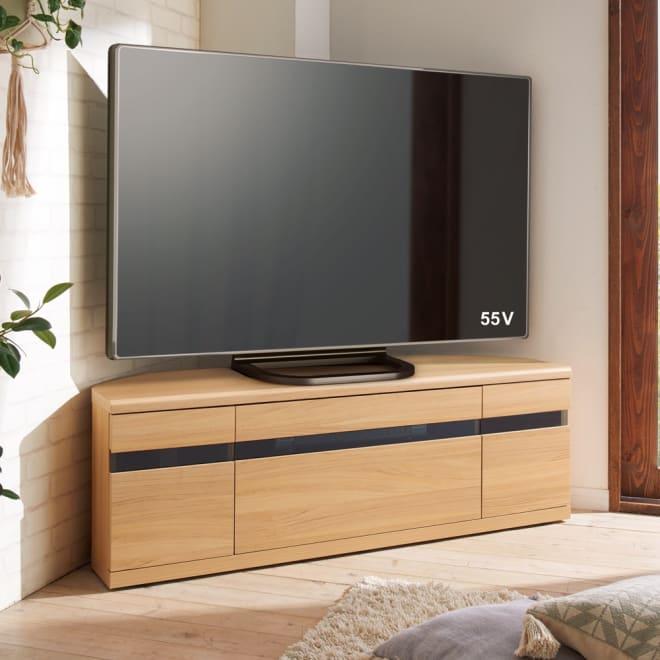 大型テレビが見やすいスイングコーナーテレビ台 幅130cm (ア)ナチュラルオーク 前板はブラックガラスを使用しており、扉を閉じたままでもリモコンが使えます。