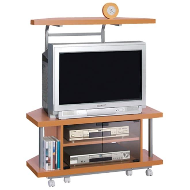 テレビ上の空間を有効活用できるシリーズ コーナー用テレビ台 幅90cm・棚1段 (ア)ナチュラル ブラウン管テレビにも対応。薄型テレビももちろんおけます。
