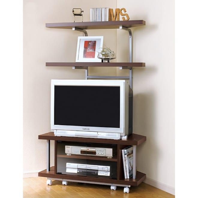テレビ上の空間を有効活用できるシリーズ コーナー用テレビ台 幅90cm・棚2段 (ウ)ブラウン ブラウン管テレビにも対応。