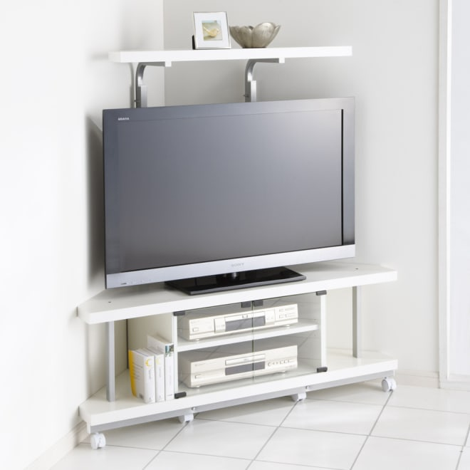 テレビ上の空間を有効活用できるシリーズ コーナー用テレビ台 幅120cm棚1段 (イ)ホワイト ※テレビは42インチ液晶テレビを載せています。