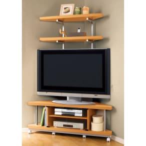 テレビ上の空間を有効活用できるシリーズ コーナー用テレビ台 幅120cm・棚2段 写真