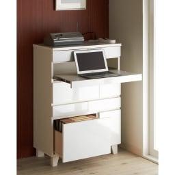 インクジェットプリンターが置ける オールインワン収納引き出しFAX台 幅67cm (イ)ホワイト ノートPCデスクとしても使用できます。床からスライドテーブルまでの高さ70cm