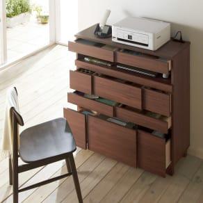インクジェットプリンターが置ける オールインワン収納引き出しFAX台 幅89cm 写真