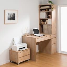 天然木調 配線すっきりデスクシリーズ パソコンデスク・幅90cm奥行60cm コーディネート例(イ)ナチュラル ※お届けはデスク・幅90cmです。