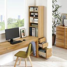 アルダー天然木 アールデザインデスクシリーズ デスクサイドラック