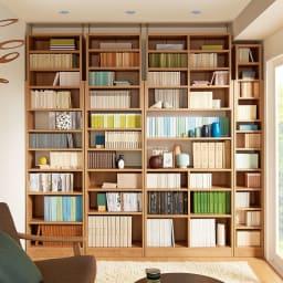 1台で壁いっぱいに本を収納!本好きのための壁面つっぱり本棚 本体幅90奥行29.5cm コーディネート例(ア)ブラウン(木目調) ※写真の天井高さ230cm
