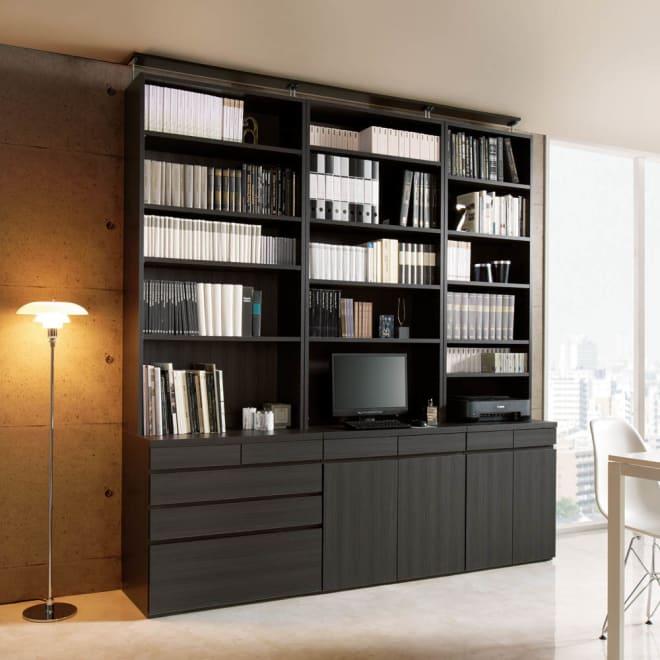 モダンブックライブラリー 天井突っ張り式 デスクタイプ 幅60cm シックでモダンな書斎空間が叶います。(ア)ブラック