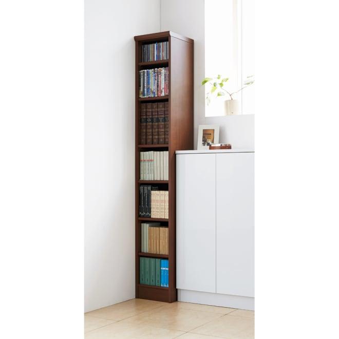 色とサイズが選べるオープン本棚 幅28.5cm高さ178cm (ウ)ブラウン