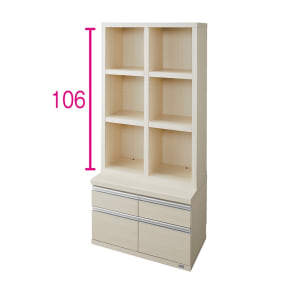 【完成品】重厚感のあるがっちり本棚シリーズ チェスト付き 幅75高さ162奥行45cm 写真