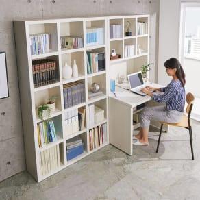 【完成品】重厚感のあるがっちり本棚シリーズ デスク 幅89高さ180奥行35cm 写真