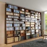 幅118cm本体高さ232.5cm(脚元安定1cmピッチ棚板頑丈薄型書棚 突っ張りタイプ) 写真